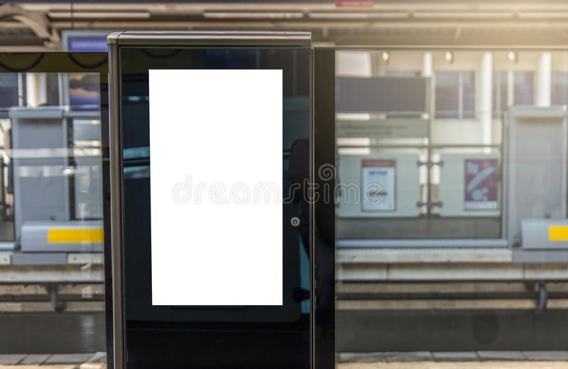 Blank digital poster on train platform.  stock photography