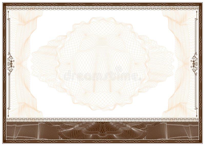 Blank diploma or certificate border stock illustration