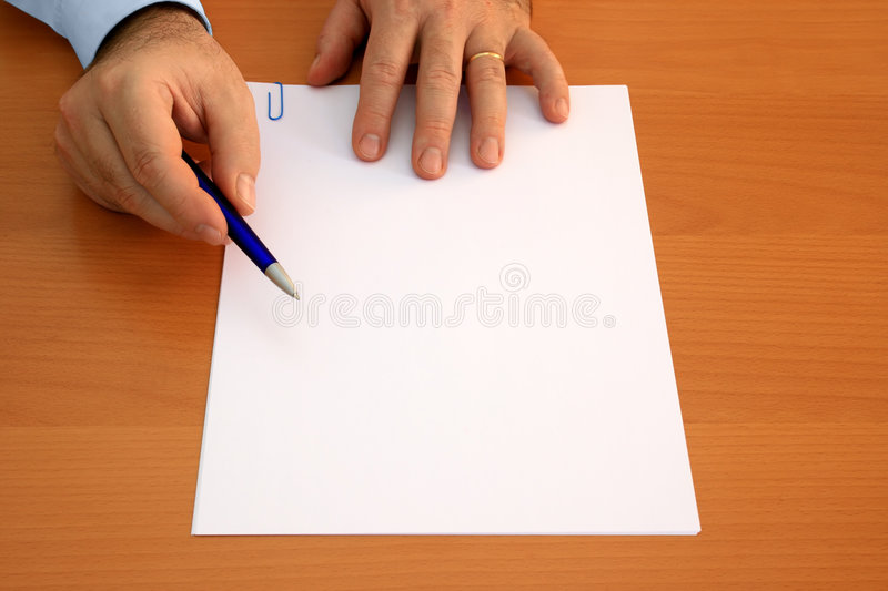 Blank document to sign stock image