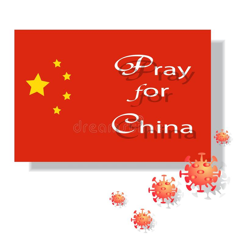 Pray for China`s Corona Virus Outbreak Sign. And Symbol for publications, advertisements, banners, posters, sticker, labels and t-shirt graphics stock photography