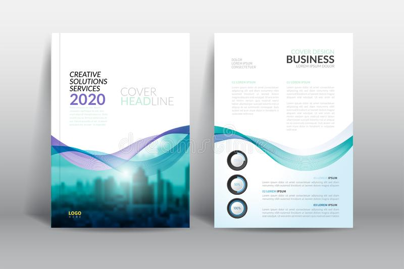 Annual report cover brochure flyer design template with abstract wave vector. stock illustration