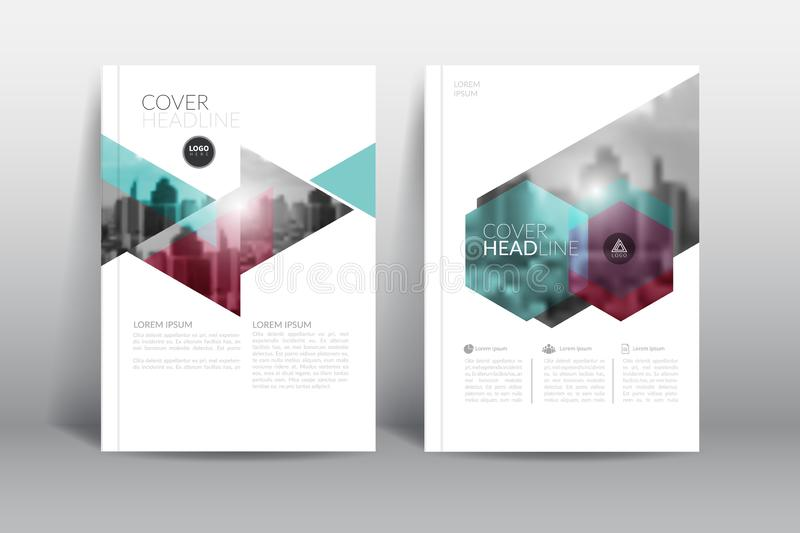 Annual report cover brochure flyer design template with abstract hexagon vector. royalty free illustration