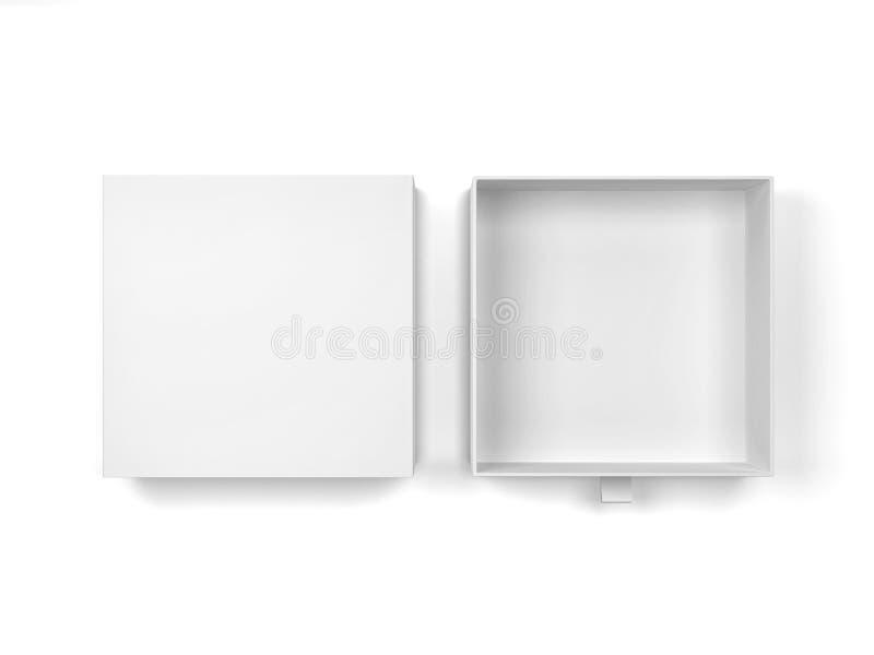 Blank drawer type box mockup. 3d illustration isolated on white background royalty free illustration