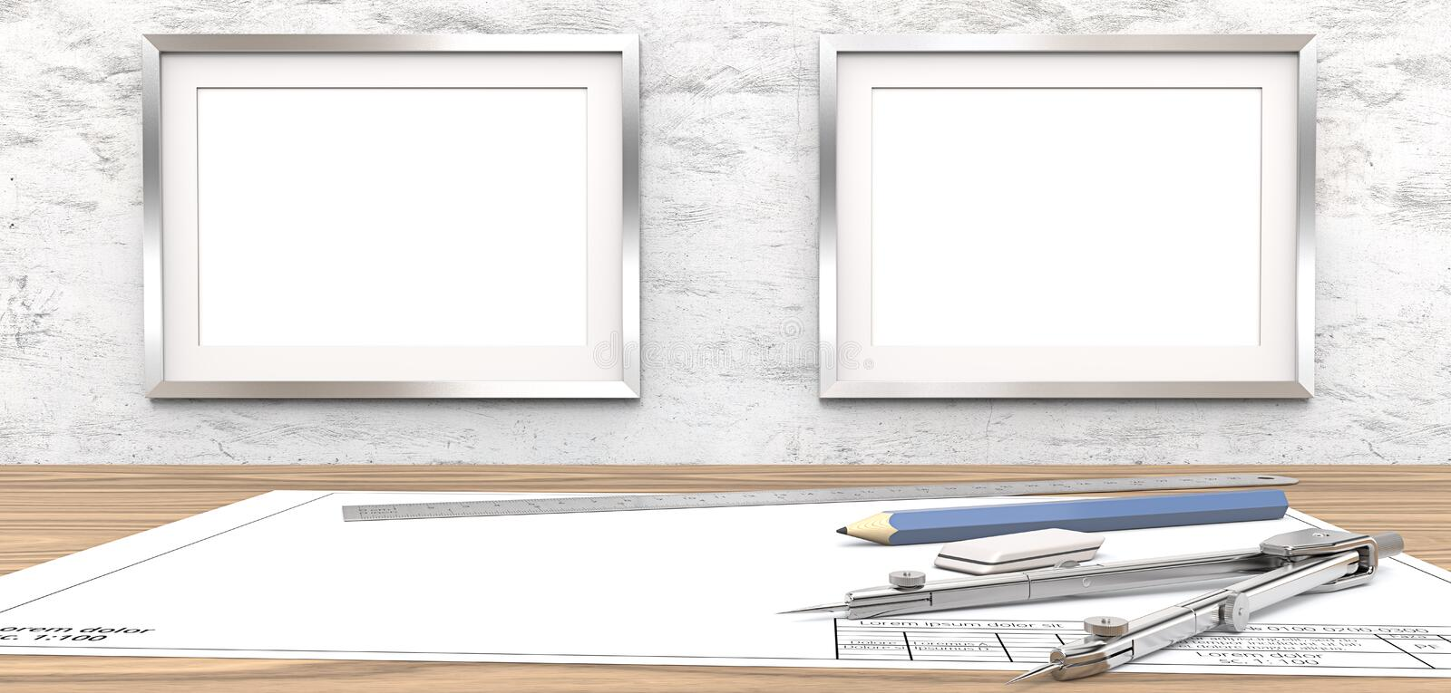 Blank drawings and Frames for copy space. royalty free illustration