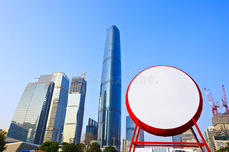 Blank drum in modern city with buildings background stock photo