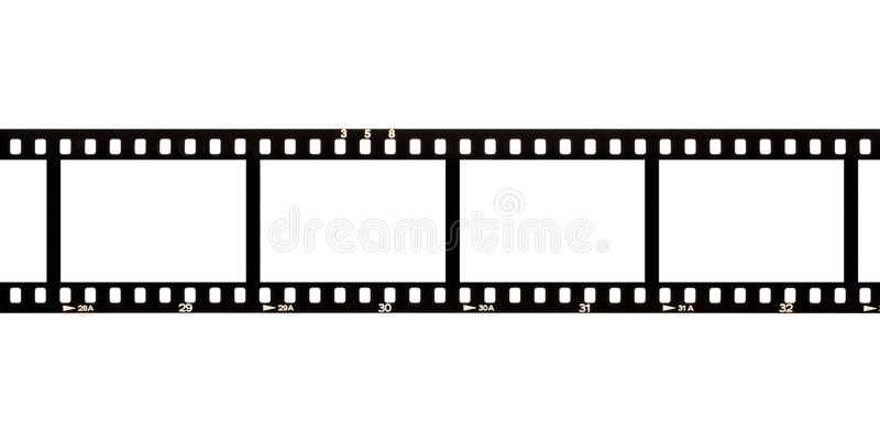 Blank, empty analog photography camera negative film strip with copy space for images isolated on white background. Blank, empty analog photography camera stock photos