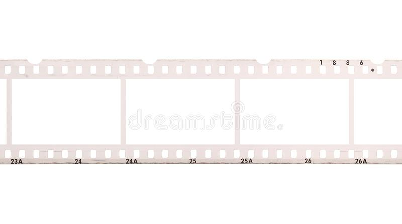 Blank, empty analog photography camera negative film strip with copy space for images isolated on white background. Blank, empty analog photography camera royalty free stock photo