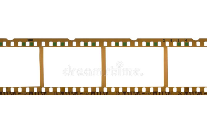 Blank, empty analog photography camera negative film strip with copy space for images isolated on white background. Blank, empty analog photography camera stock image