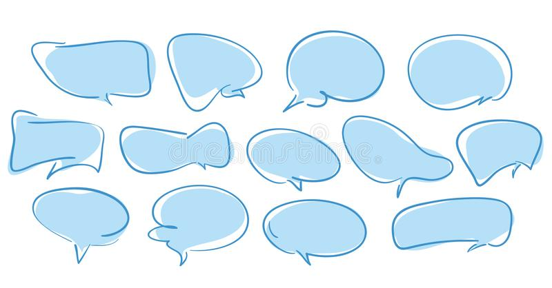 Blank empty blue hand-drawn speech bubbles on white background vector illustration
