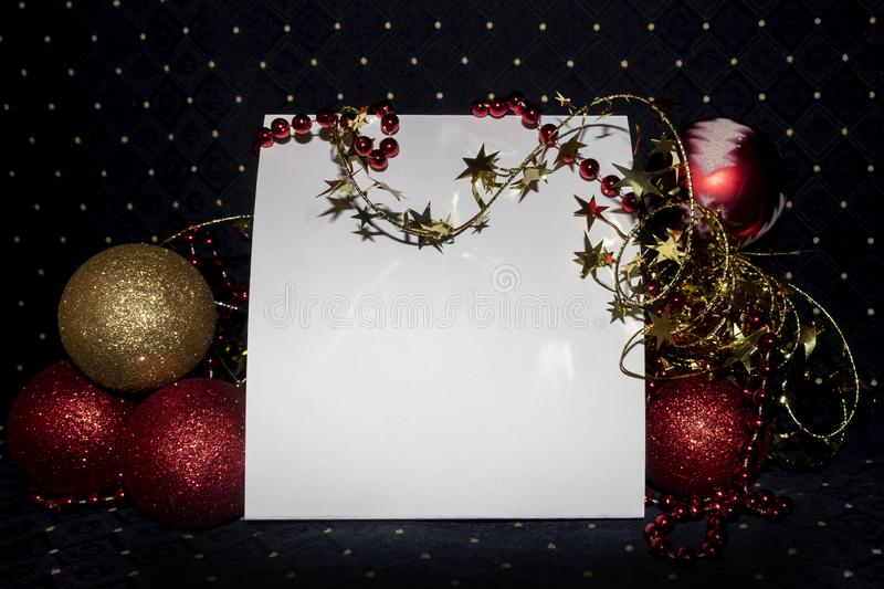 Blank Empty Card With Copy Space Decorated Useful For Christmas and New Year Cards and Greetings. Blank empty white card with copy space. Scene is decorated with stock photography