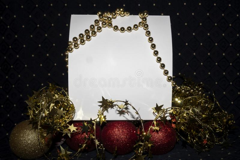 Blank Empty Card With Copy Space Decorated Useful For Christmas and New Year Cards and Greetings. Blank empty white card with copy space. Scene is decorated with stock image
