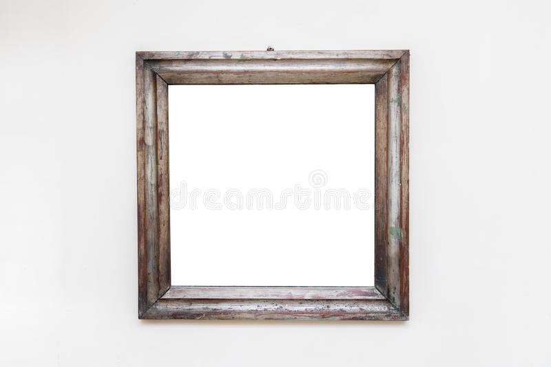 Blank empty frame in art gallery. Museum exhibition white clipping path stock photo