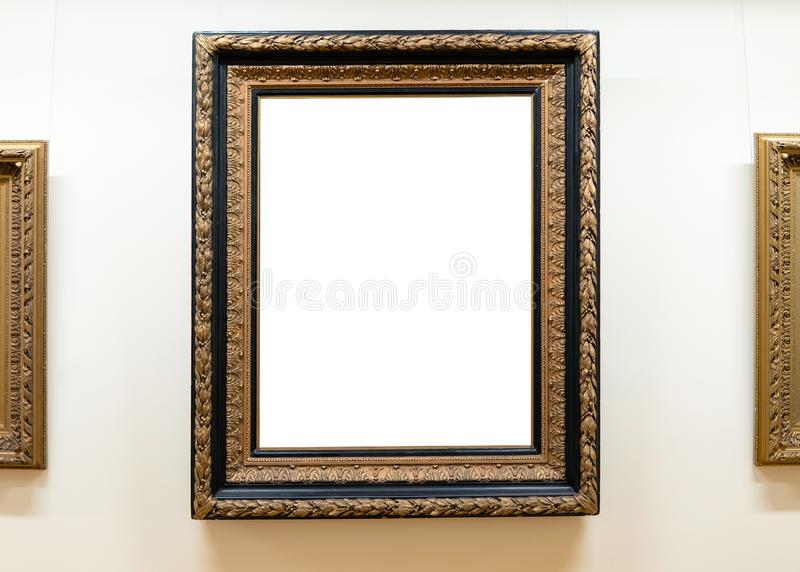 Blank empty frames hanging on museum wall. Art gallery, museum exhibition white clipping path.  royalty free stock photos