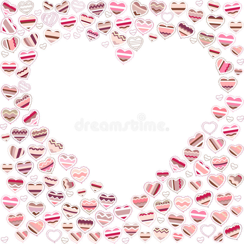 Blank empty heart made of small ones. Blank empty heart made of small pink hearts royalty free illustration