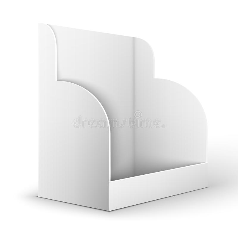 Blank empty holder for fliers. White POS POI Cardboard Blank Empty Show Box Holder For Advertising Fliers, Leaflets Or Products On White Background Isolated stock illustration