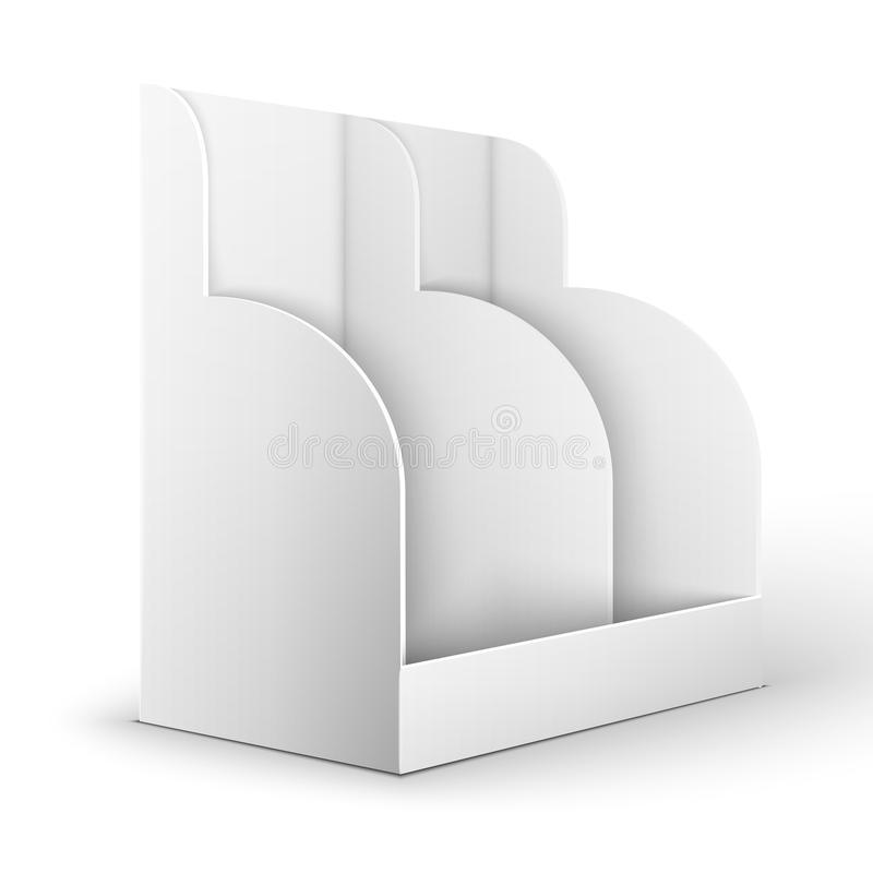 Blank empty holder for fliers. White POS POI Cardboard Blank Empty Show Box Holder For Advertising Fliers, Leaflets Or Products On White Background Isolated royalty free illustration