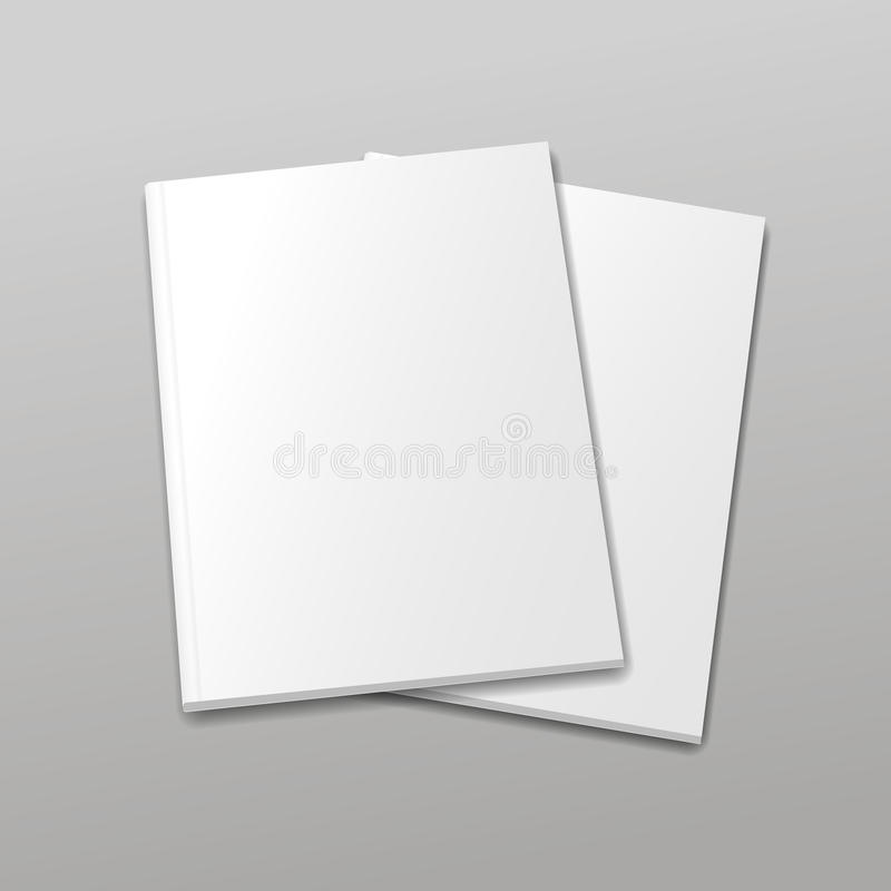 Blank empty magazine or book template on a gray royalty free illustration