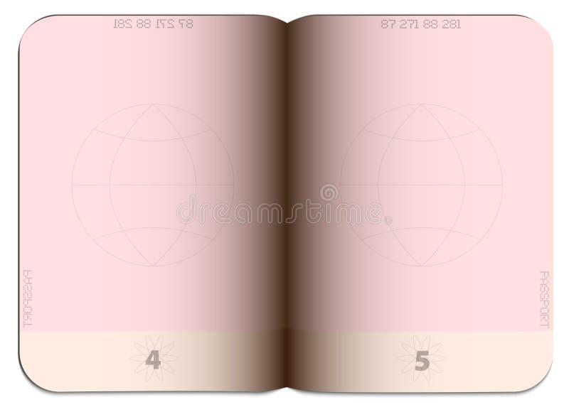 Blank empty open generic passport template stock illustration