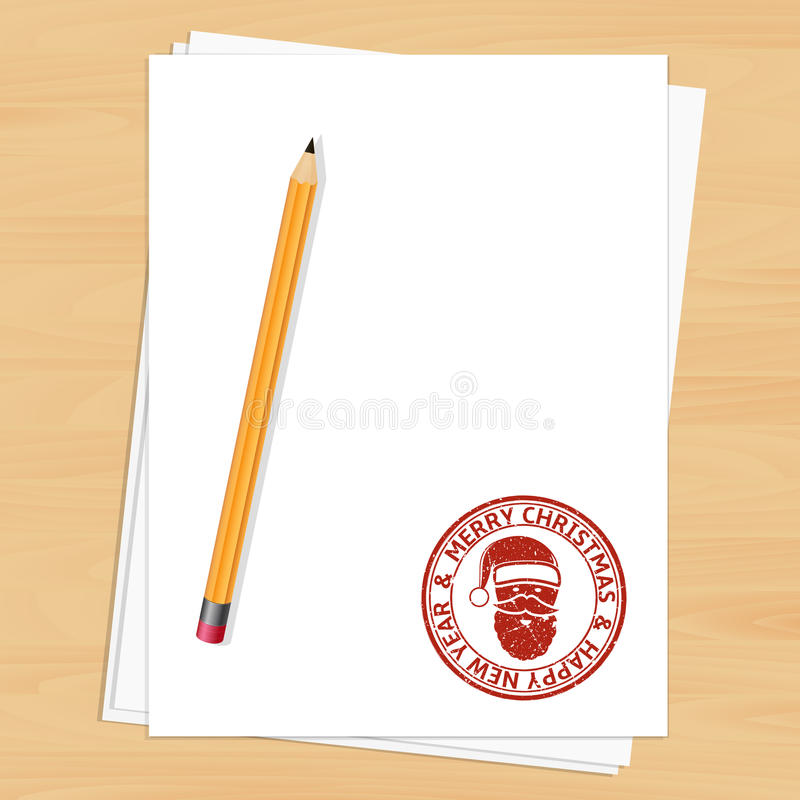 Blank empty paper sheet with Christmas stamp stock illustration