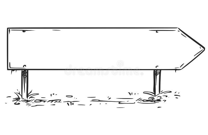 Blank Empty Road Arrow Sign Drawing. Vector drawing of blank empty arrow road sign stock illustration