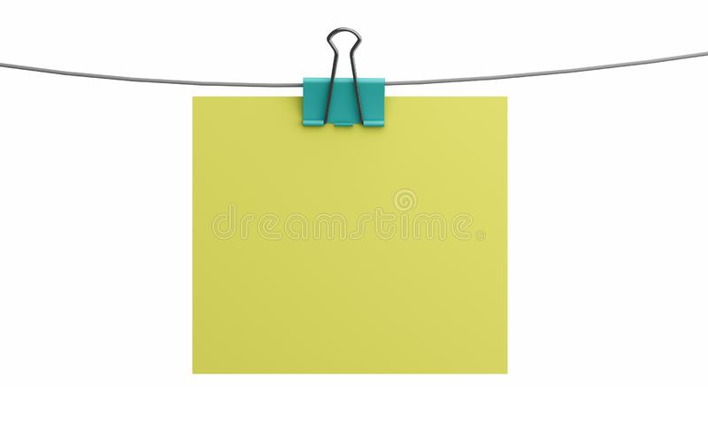 Blank empty sheet of paper attached with binder clip isolated on white background. 3d illustration.  royalty free illustration