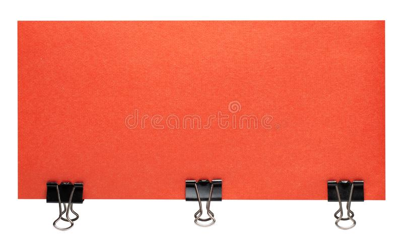 Blank empty sheet of paper attached with clip isolated on white background royalty free stock photo