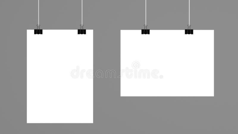 Blank empty sheet of paper or picture board attached with binder clip isolated on white background. 3d illustration stock illustration
