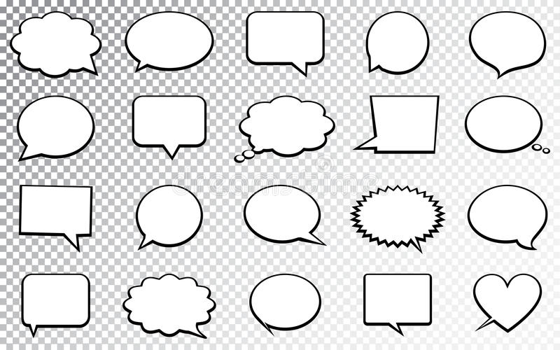 Blank empty speech bubbles. Isolated on transparent background. Vector illustration. royalty free illustration