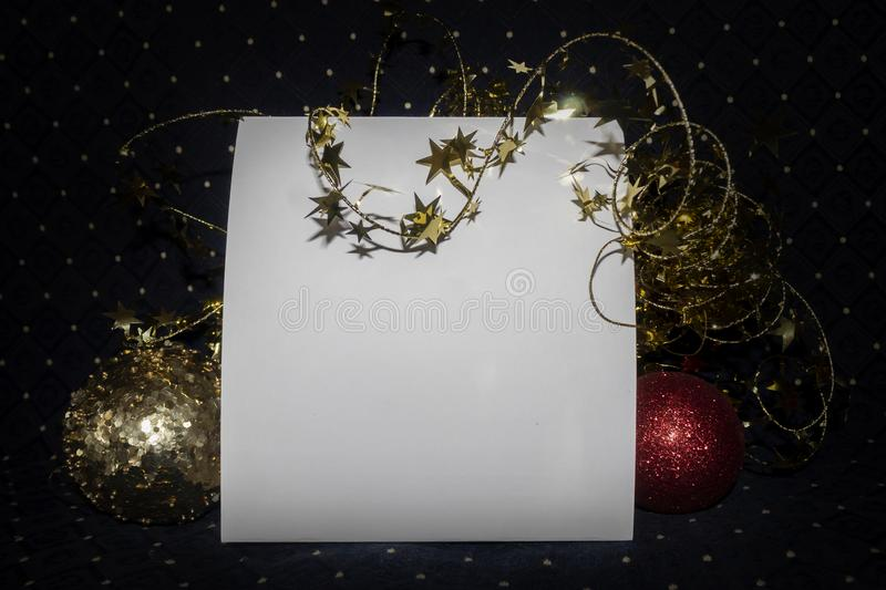 Blank Empty Card With Copy Space Decorated Useful For Christmas and New Year Cards and Greetings. Blank empty white card with copy space. Scene is decorated with royalty free stock images