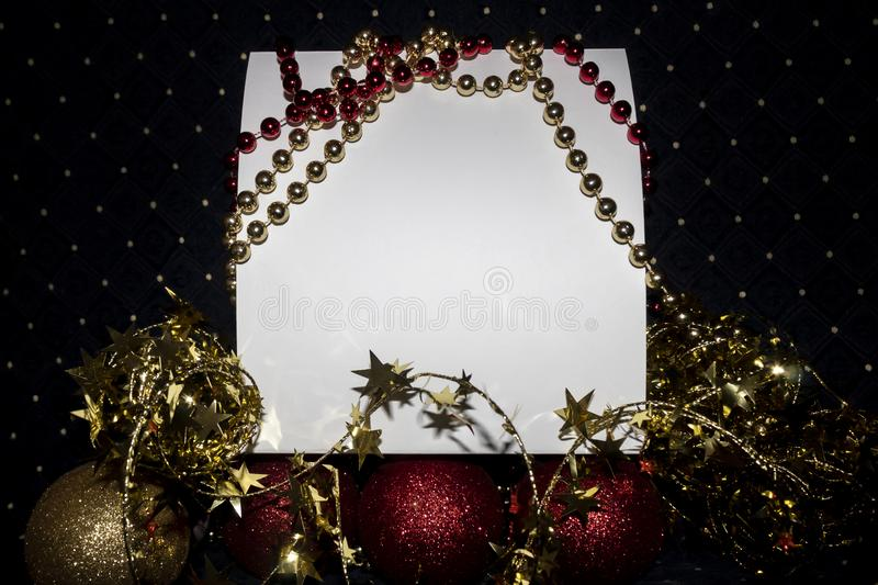 Blank Empty Card With Copy Space Decorated Useful For Christmas and New Year Cards and Greetings. Blank empty white card with copy space. Scene is decorated with stock photo