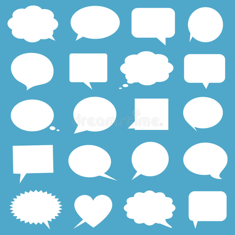Blank empty white speech bubbles royalty free illustration