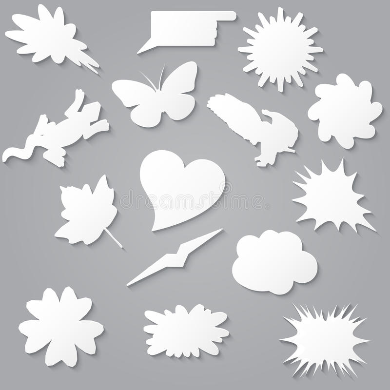 Blank empty white speech bubbles paper collection set with various shapes. royalty free illustration