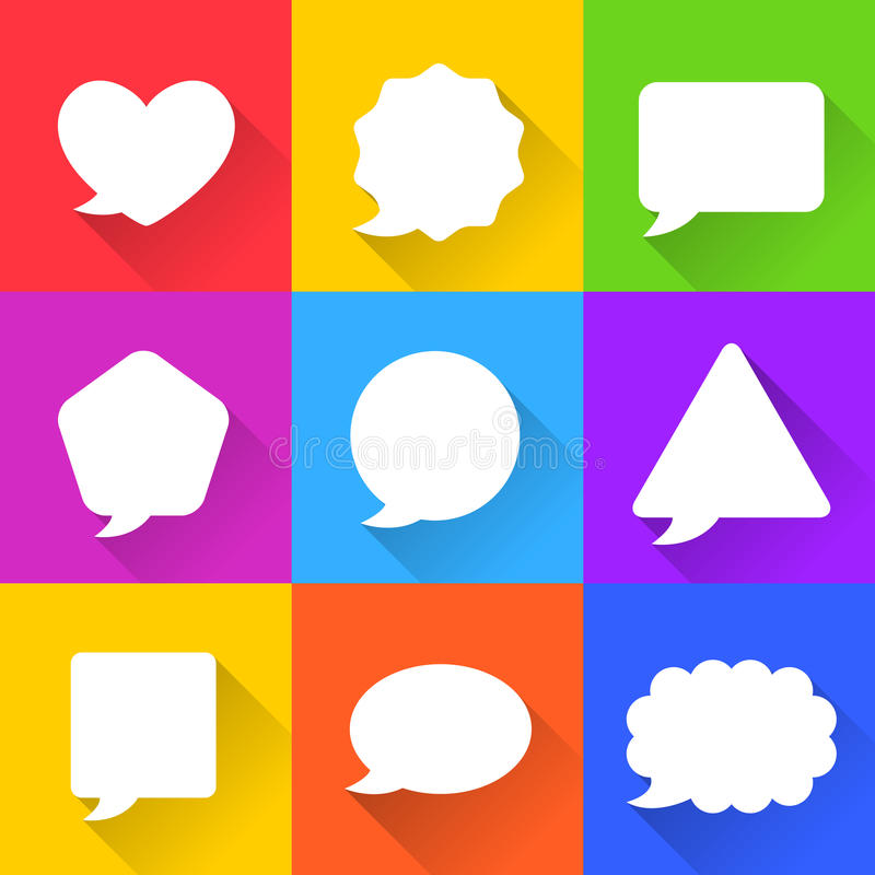 Blank Empty White Speech Bubbles Set royalty free illustration