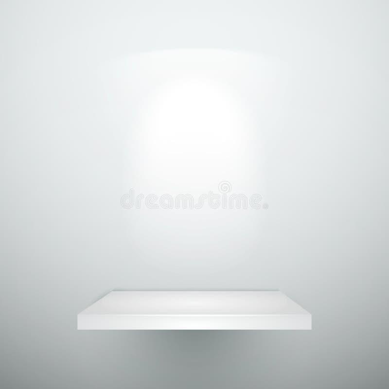 Blank empty white wooden shelf. With illumination vector illustration