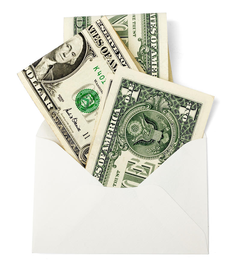 Blank envelope with cash. Isolated on white background royalty free stock photos