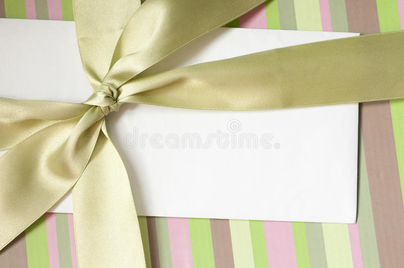 Blank envelope on the gift box stock image