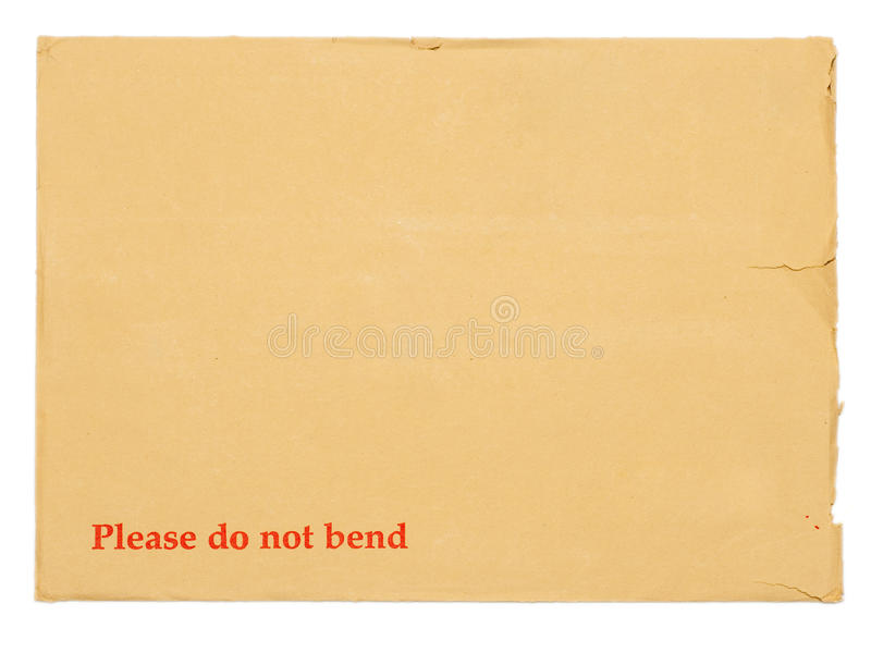 Blank envelope for important documents. 'Please do not bend envelope' blank envelope for important documents royalty free stock photography