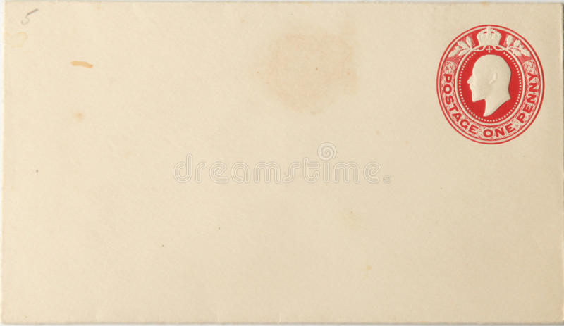 Blank envelope with print of King George V royalty free stock photos