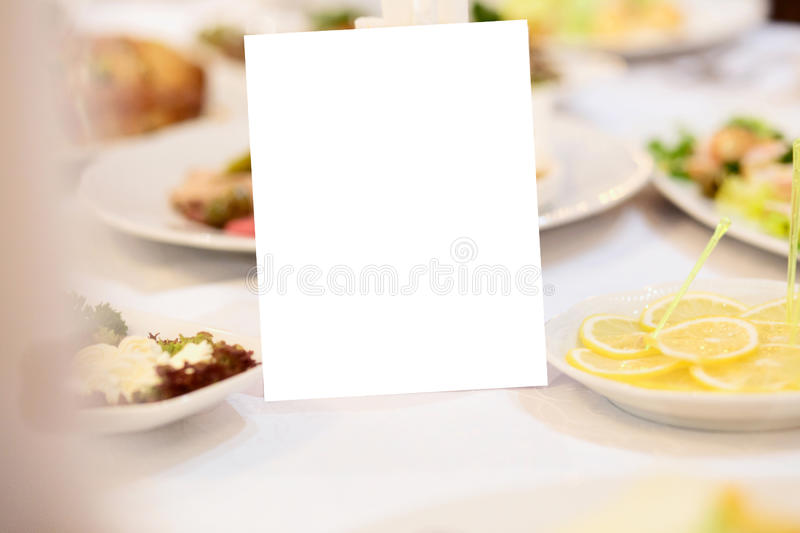 Download Blank Event Guest Card On Restaurant Table Stock Photo - Image: 83710340