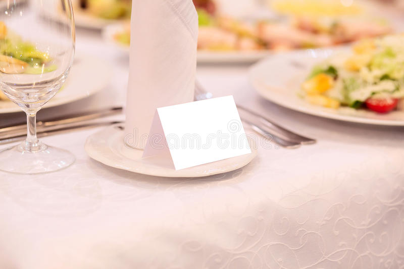 Download Blank Event Guest Card On Restaurant Table Stock Image - Image: 83711779