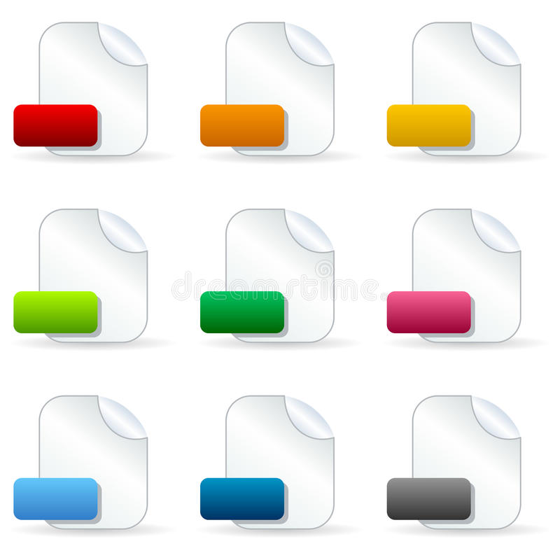 Blank File Document Icons. Collection of 9 blank file document icons with colorful labels, on white background. Eps file available vector illustration