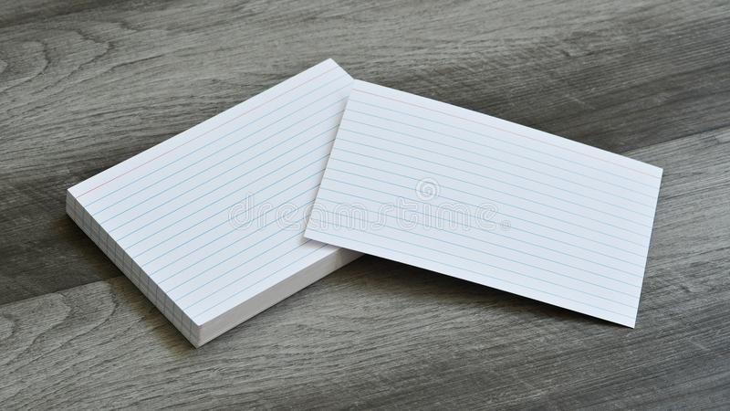 Blank Flash Index Note Cards on Dark Grey Wood Background royalty free stock image