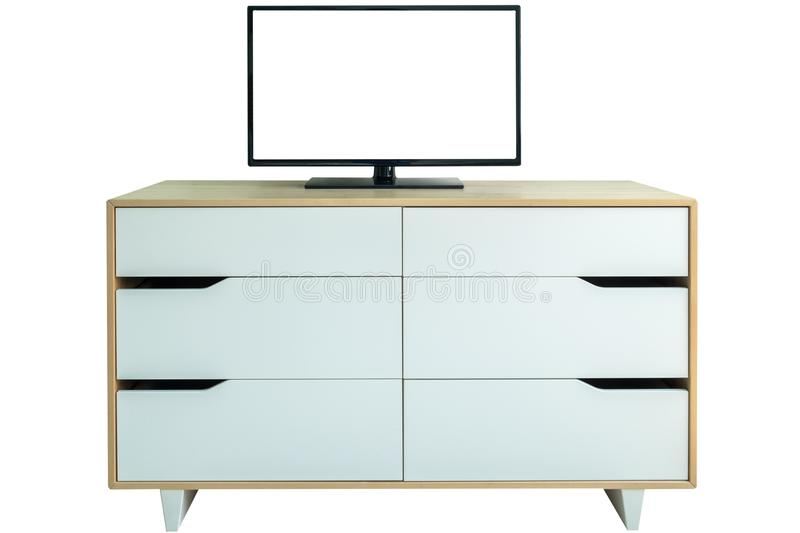 Blank flat screen tv on white closet drawers stock images