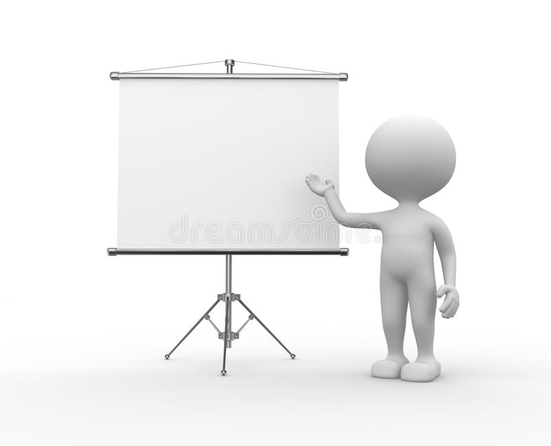 Blank flip chart. 3d people - men, person and a flip chart stock illustration