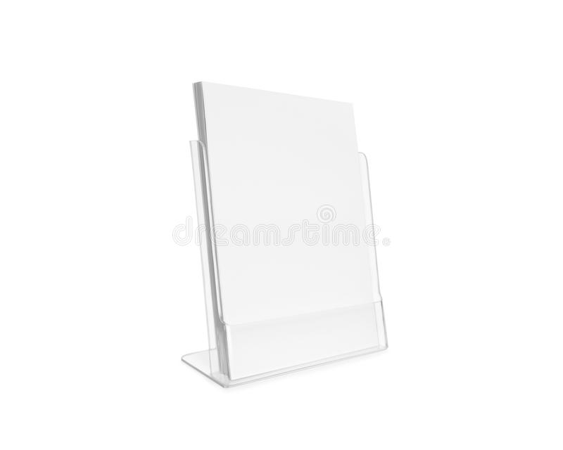 Blank flyer mockup glass plastic transparent holder isolated. royalty free stock images