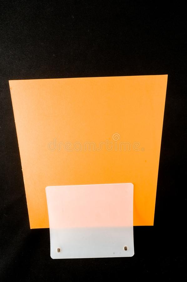 Blank flyer mockup paper holder isolated. Plain flier stand Clear brochure holding royalty free stock photography