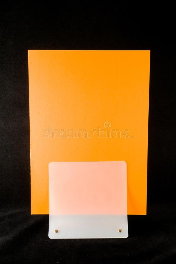 Blank flyer mockup paper holder isolated. Plain flier stand Clear brochure holding stock images