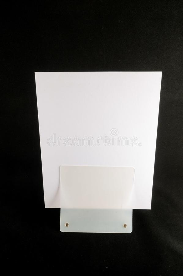 Blank flyer mockup paper holder isolated. Plain flier stand Clear brochure holding royalty free stock images