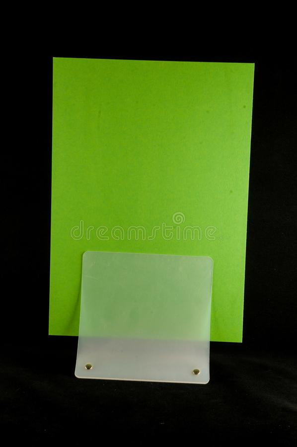 Blank flyer mockup paper holder isolated. Plain flier stand Clear brochure holding royalty free stock photos