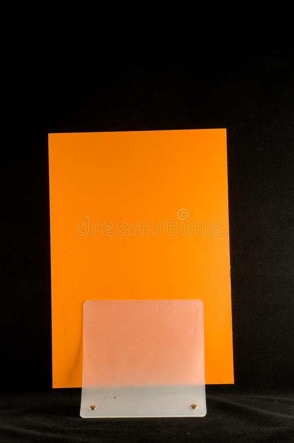 Blank flyer mockup paper holder. Plain flier stand Clear brochure holding royalty free stock images